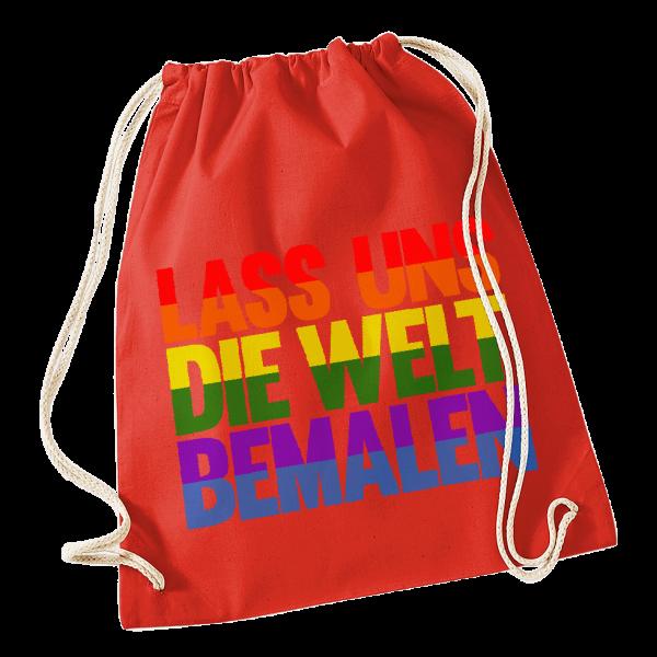 Kerstin Ott - Lass Uns Die Welt Bemalen - Turnbeutel (rot)